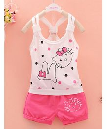 Awabox Polka Dot Print Sleeveless Top & Shorts Set - White & Pink
