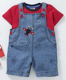 Wonderchild Short Sleeves Tee With Plane Embroidered Dungaree - Red & Blue