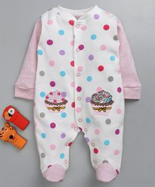 Wonderchild Multi Color Dot Print Cupcake Patch Full Sleeves Romper - Pink