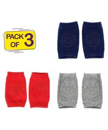 Syga Baby Crawling Non-Slip Knee Pads Set Of 3 - Grey Red & Navy