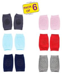 Syga Baby Crawling Non-Slip Knee Pads Set Of 6 - Multicolor