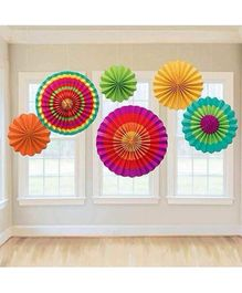Syga Wheel Paper Fans Multicolour - Pack of 6