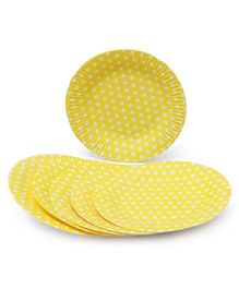 B Vishal Polka Dots Paper Plates Yellow - Pack of 10