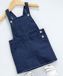 Memory Life Solid Color Dungaree Frock - Navy Blue