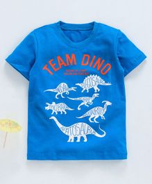 Kookie Kids Half Sleeves Tee Team Dino Print - Blue