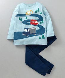 Ventra Full Sleeves Road Journey Print Night Suit - Blue 1312f4da2