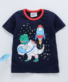 Kookie Kids Half Sleeves Tee Team Space Dino Print - Navy Blue