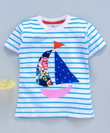 Kookie Kids Half Sleeves Striped Tee Team Boat Print - White Blue