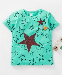 Baobaoshu Half Sleeves T-shirt Star Print - Green