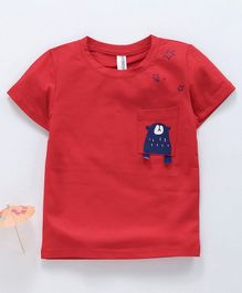 Baobaoshu Half Sleeves Tee Bear Pocket Print - Red