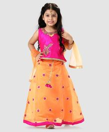 f78649e796097 Babyhug Floral Embroidered Lehenga With Sleeveless Embellished Blouse &  Dupatta - Orange Fuchsia