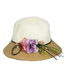 Kidofash Two Toned Flower Applique Hat - Brown