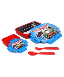 Hotwheels Lunch Box With Stainless Steel Inside - Blue Red