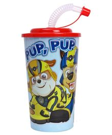 Paw Patrol Pup Printed Sipper With Straw Red - 450 ml
