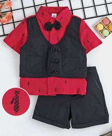 1027e46a5cfc ToffyHouse Half Sleeves Party Wear tie Print Shirt With Bow Detail   Shorts  - Black Red