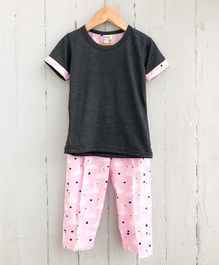 Frangipani Kids Swan Printed Half Sleeves Night Suit - Grey & Pink