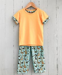 Frangipani Kids Giraffe Print Half Sleeves Night Suit - Orange & Sea Green