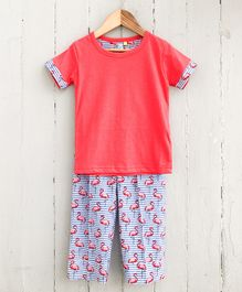 Frangipani Kids Flamingo Printed Half Sleeves Night Suit - Red & Blue