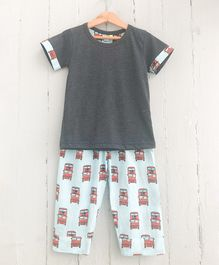 Frangipani Kids Bus Printed Half Sleeves Night Suit - Grey & Sea Green