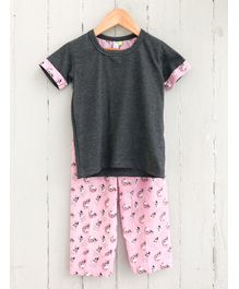 Frangipani Kids Dog Print Half Sleeves Night Suit - Grey & Pink