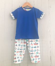Frangipani Kids Boat Print Half Sleeves Night Suit - Blue