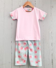 Frangipani Kids Pig Print Half Sleeves Night Suit - Pink