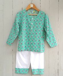Frangipani Kids Heart Print Full Sleeves Night Suit - Green & White