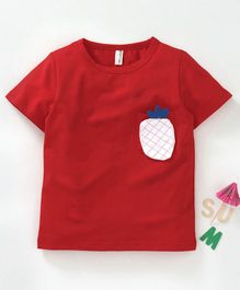 BaoBaoShu Half Sleeves Tee Pineapple Patch - Red