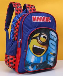 Minions School Bag Blue Red - Height 16 Inches