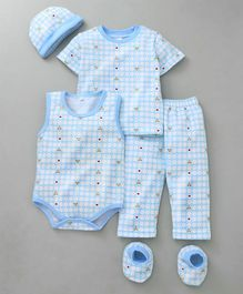 MFM Printed 5 Piece Printed Clothing Set - Sky Blue