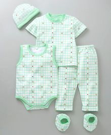 MFM Printed 5 Piece Printed Clothing Set - Green