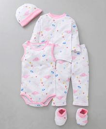 MFM Printed 5 Piece Clothing Set Space Shuttle Print - White Pink