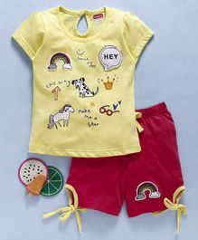 Babyhug Half Sleeves Tee And Shorts Rainbow Patch - Yellow Red