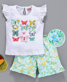 Babyhug Flutter Sleeves Top And Shorts Butterfly Patch & Print - White