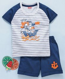 Babyhug Half Sleeves T-Shirt & Shorts Set Ship Print - Navy Blue Grey