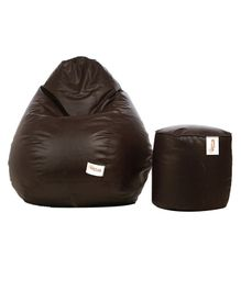 Sattva Combo Of Classic Bean Bag And Round Footstool With Beans XXXXL - Brown