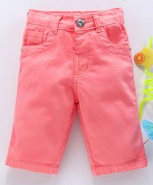 1ed7a2bbeca3a Babyhug Solid Dyed Cotton Twill Capri Pant With Adjustable Elastic Waist -  Coral