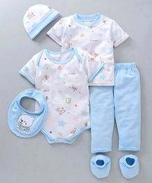 MFM Half Sleeves Printed 6 Piece Clothing Set Multi Print - White Blue