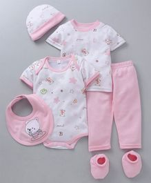 MFM Half Sleeves Printed 6 Piece Clothing Set Multi Print - White Pink