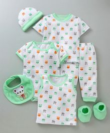 MFM 7 Piece Printed Clothing Set Allover Print -  Green