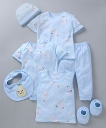 MFM 7 Piece Clothing Set Fruit Print -  Blue