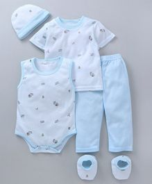 MFM 5 Piece Clothing Set Allover Print - Blue