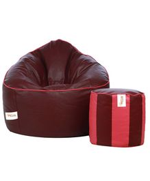 Sattva Muddha Bean Bag Cover And Round Footstool Without Beans - Maroon Pink