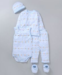 MFM Printed 5 Piece Printed Clothing Set -  Light Blue