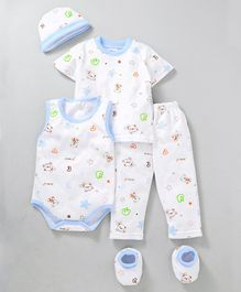 MFM Printed 5 Piece Clothing Set Multi Print - White Blue