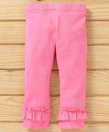 UCB Full Length Ruffled Hem Solid Leggings - Pink