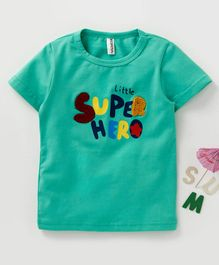 Baobaoshu Half Sleeves Tee Super Hero Print - Green