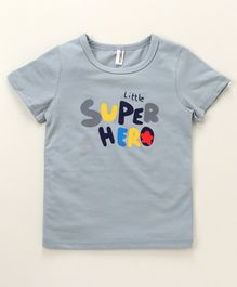 Baobaoshu Half Sleeves Tee Super Hero Print - Grey
