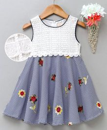 Smile Rabbit Sleeveless Striped Frock Floral Embroidery - White Navy