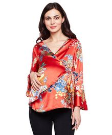 Oxolloxo Floral Printed Full Sleeves Top - Red